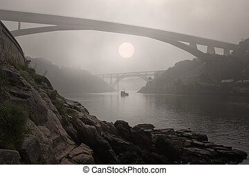 Foggy Douro river - Douro river in the morning mist
