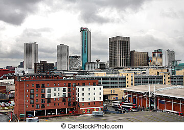 Birmingham skyline with modern office buildings seen from...