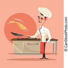 Happy smiling cook character cooking pancakes and pushes them into the air. Vector flat cartoon illustration