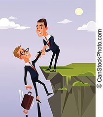 Businessman office worker character giving to colleague...
