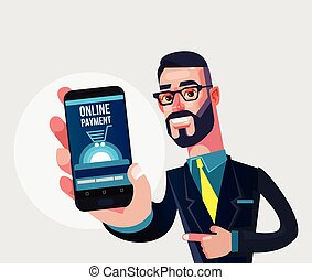 Happy smiling manager man character showing smart phone with...