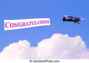 felicitaciones, avión, bandera