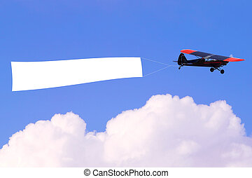 Airplane flying blank banner - An airplane flying through...