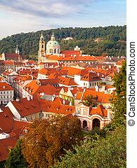 Lesser Town cityscape with St Nicholas Church, Prague, Czech Republic