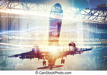Take off of an aircraft with double exposure of airport -...