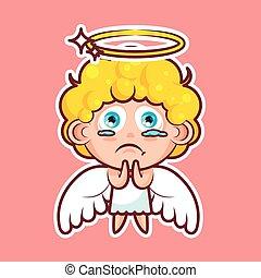 Sticker emoji emoticon, emotion beg, ask, pray, tears in...