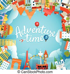 Adventure time vector illustration. Travel concept with...