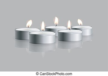 Vector Tea candles on grey background with mirror reflection.