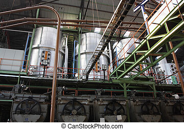 interior of a sugar factory - interior of a sugar mill