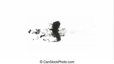 Drop of black ink falling into the water