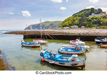 Lynmouth Devon England UK - Harbour at Lynmouth in Exmoor...
