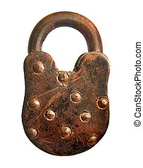 Rusted Padlock - An old rusted worn down padlock isolated on...