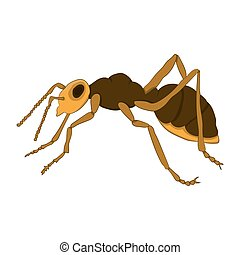 Cartoon ant on a white background. Vector illustration. Hand...