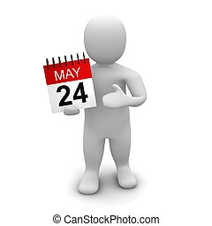 Man holding calendar 3d rendered illustration isolated on...
