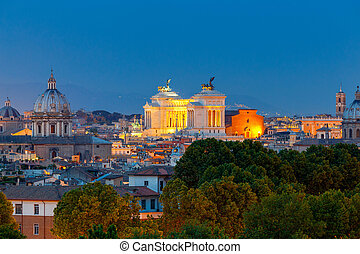 Rome. Aerial view of the city at night. - Aerial view of...
