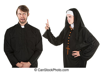 Naughty Priest - A young Catholic priest and nun bursting in...