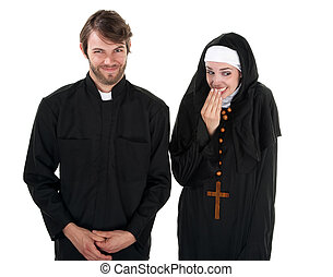 Fun Priest and Nun - A young Catholic priest and nun on...