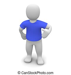 Man wearing blue t-shirt 3d rendered illustration