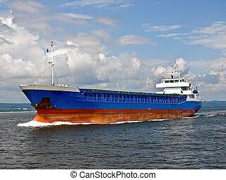 Cargo ship at sea - Cargo ship entering the port of Gdansk,...