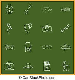 Set Of 16 Editable Camping Doodles. Includes Symbols Such As...