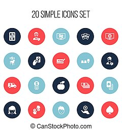 Set Of 20 Editable Casino Icons. Includes Symbols Such As Blackjack, Gambling, Money And More. Can Be Used For Web, Mobile, UI And Infographic Design.