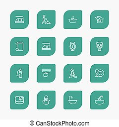 Set Of 16 Editable Cleanup Outline Icons. Includes Symbols...