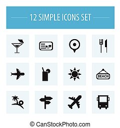 Set Of 12 Editable Trip Icons. Includes Symbols Such As...