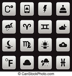Set Of 16 Editable Climate Icons. Includes Symbols Such As...