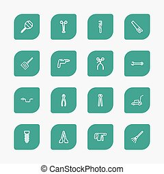 Set Of 16 Editable Apparatus Outline Icons. Includes Symbols...
