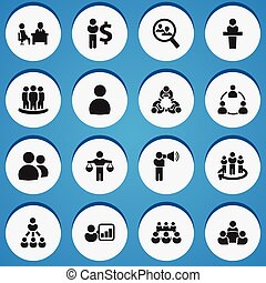 Set Of 16 Editable Cooperation Icons. Includes Symbols Such As Commander, Debate, Finding Solution. Can Be Used For Web, Mobile, UI And Infographic Design.