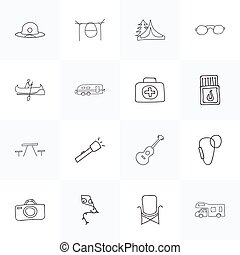 Set Of 16 Editable Trip Doodles. Includes Symbols Such As...