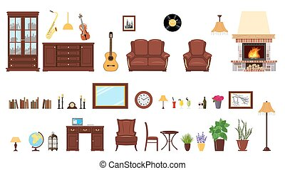 Big realistic Set of home interior setting elements for home...