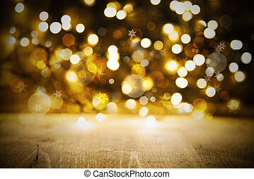 Christmas Golden Lights Background, Party Or Celebration...