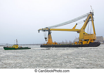 Great floating crane in winter