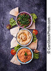 Selection of Middle Eastern or Arabic appetizers. Top view