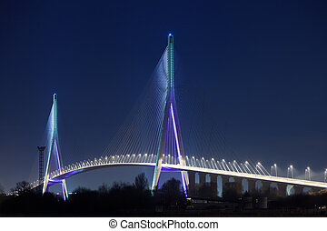 Normandy bridge (Pont de Normandie, France) at night -...