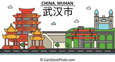 China, Wuhan. City skyline architecture, buildings, streets, silhouette, landscape, panorama, landmarks. Editable strokes. Flat design line vector illustration concept. Isolated icons set