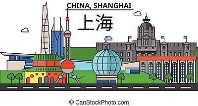 China, Shanghai. City skyline architecture, buildings, streets, silhouette, landscape, panorama, landmarks. Editable strokes. Flat design line vector illustration concept. Isolated icons set