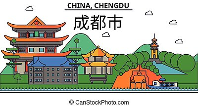 China, Chengdu. City skyline architecture, buildings, streets, silhouette, landscape, panorama, landmarks. Editable strokes. Flat design line vector illustration concept. Isolated icons set