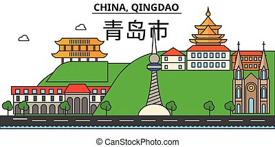 China, Qingdao. City skyline architecture, buildings, streets, silhouette, landscape, panorama, landmarks. Editable strokes. Flat design line vector illustration concept. Isolated icons set
