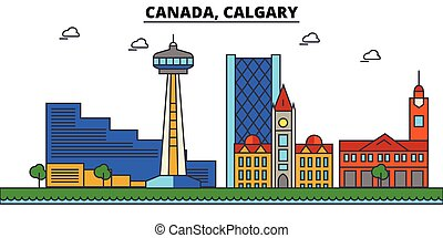 Canada, Calgary. City skyline architecture, buildings, streets, silhouette, landscape, panorama, landmarks. Editable strokes. Flat design line vector illustration concept. Isolated icons set