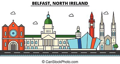 Belfast, North Ireland. City skyline architecture, buildings, streets, silhouette, landscape, panorama, landmarks. Editable strokes. Flat design line vector illustration concept. Isolated icons set