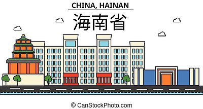 China, Hainan. City skyline architecture, buildings,...