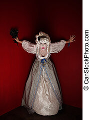 Woman dressed as Marie Antoinette - Woman wearing a Marie...
