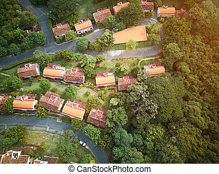 Roofs of houses above view. District of houses top view