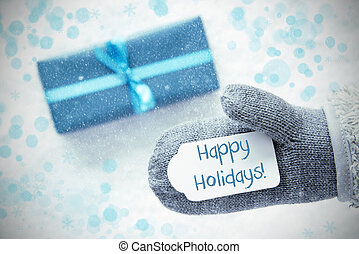 Turquoise Gift, Glove, Text Happy Holidays, Snowflakes -...