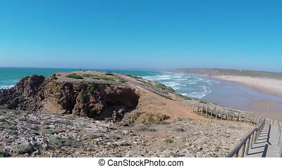 Video beautiful wild coastline around Sagres on portugals...