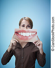businesswoman with big mouth - mid adult business woman...