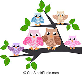 owl family in a tree