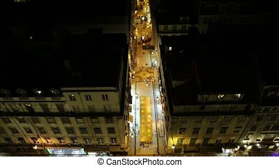 Lisbon night view - Aerial night view of Lisbon downtown and...